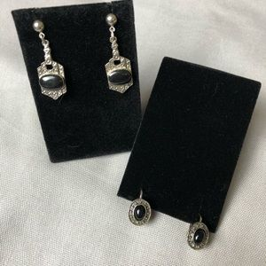 Black and silver dangle earrings 2 pairs